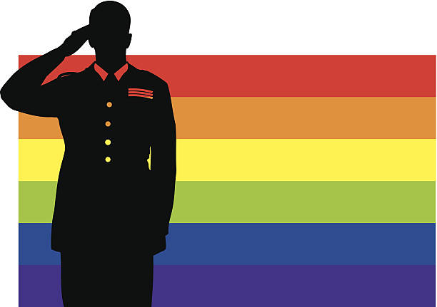 Don't Ask Dont Tell Silhouette of a male soldier in dress uniform, saluting in front of a gay pride flag. Compound path — highlights are cut out of figure so background will show through. Vector file — will scale to any size without loss of quality. air force stock illustrations