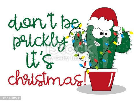 Don't be prickly it's Christmas!-Cute Cactus in Santa's hat.