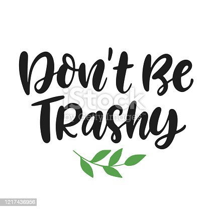 Don't Be Trashy. Save earth and less waste concept. Hand drawn ecology lettering badge, eco friendly lifestyle poster, t shirt print, sticker emblem, banner, tote bag design.