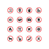 Set of don't do not sign flat vector icons.