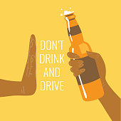 Don't drink and drive! Be a responsible driver. Flat vector illustration.