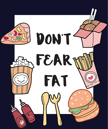 Don't fear fat slogan with patch fashion pins t-shirt pocket