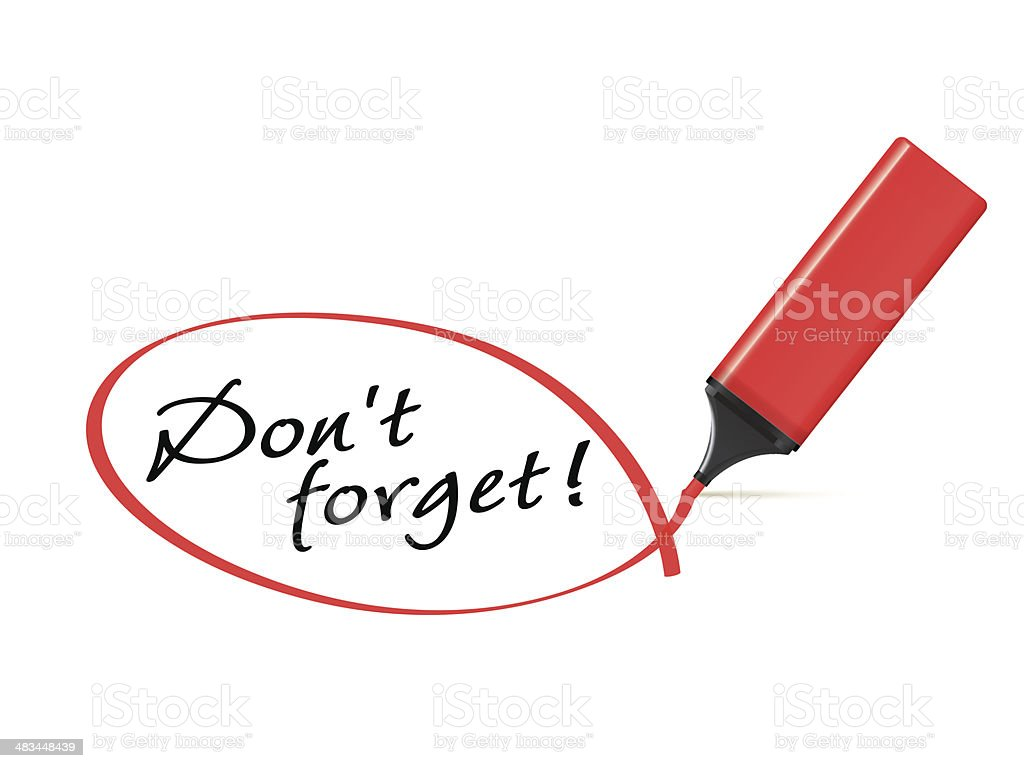 Don't forget - text marker with squiggle royalty-free stock vector art