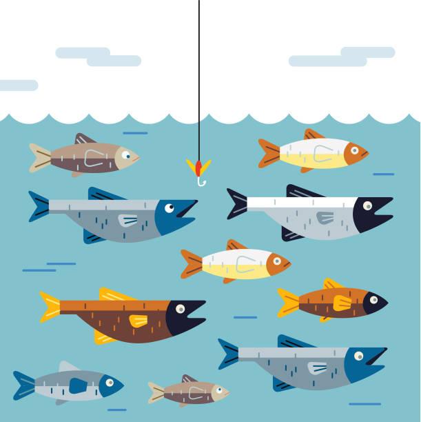 nie daj się podłączyć - rybactwo stock illustrations