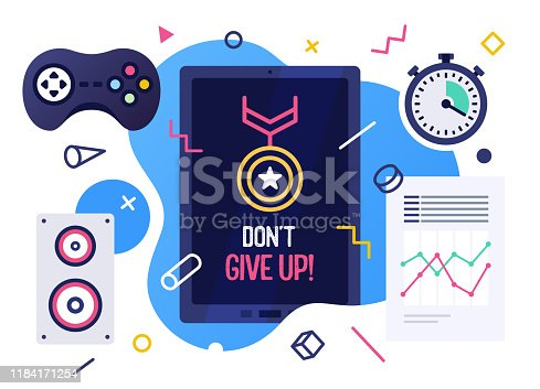Vector illustration design template with smart device and don't give up! text on its screen. Colorful web banner design with trendy decorations for corporate marketing or various vector illustrations.