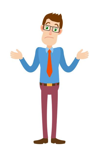 stockillustraties, clipart, cartoons en iconen met ik weet het niet. zakenman schouderophalend zijn schouders - karikatuur
