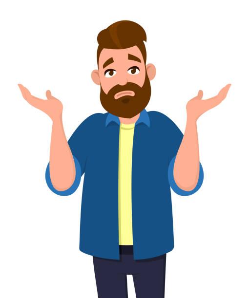 몰라요. 팔과 손을 가진 무력 제스처를 보여주는 남자 모르는 무엇을 할 사람, 몸짓 하는 불행 한 남자 손, 남자 손실 식 shrugging 무력 몸짓. - lost stock illustrations