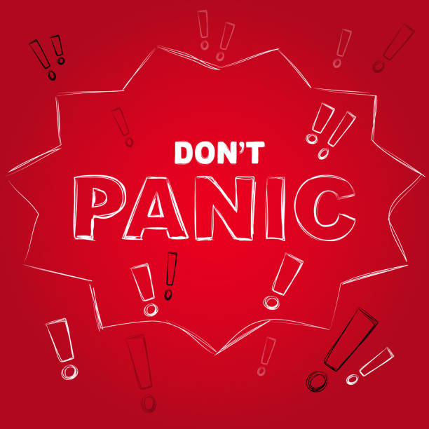 Don't panic creative lettering on red background. Aware sign, vector illustration vector art illustration