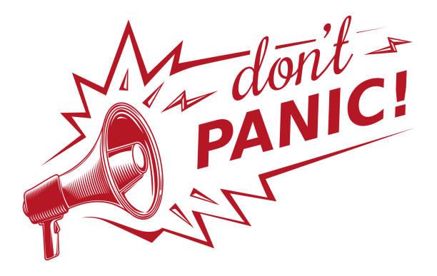 メガホンでパニックを起こしてはいけない - 恐怖点のイラスト素材/クリップアート素材/マンガ素材/アイコン素材