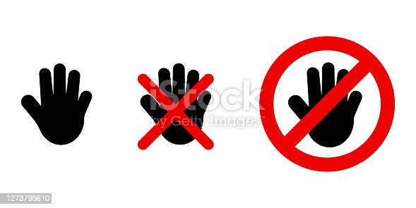 Don't touch icon in trendy fla style. Prohibition symbol. Danger symbol. Illustration with red don't touch. Vector design. Vector icon. Vector illustration. EPS 10