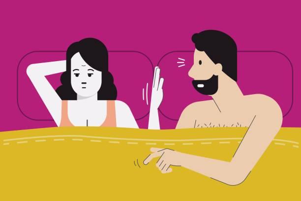 keine lust auf sex heute abend. - liebespaar stock-grafiken, -clipart, -cartoons und -symbole