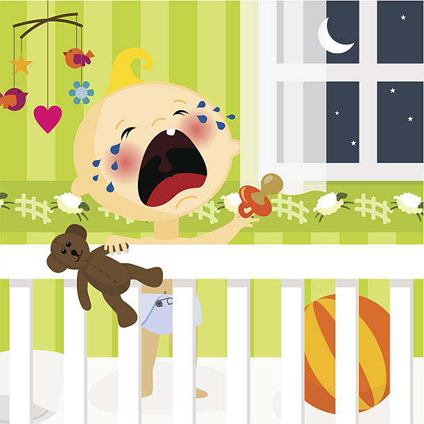 stockillustraties, clipart, cartoons en iconen met i dont want to sleep - alleen één jongensbaby