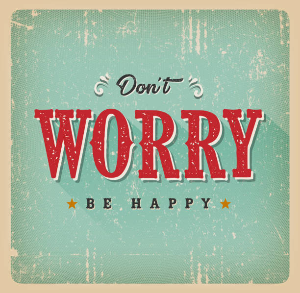 don't worry be happy card - 1950s style stock illustrations, clip art, cartoons, & icons