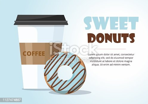 Donut and  and take away coffee on blue background. Vector Illustration