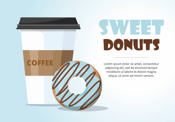Donut and  and take away coffee on blue background. Donut and  and take away coffee on blue background. Vector Illustration pastry dough stock illustrations
