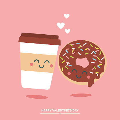 Donut and coffee in love cute Valentine's day illustration/ greetings card