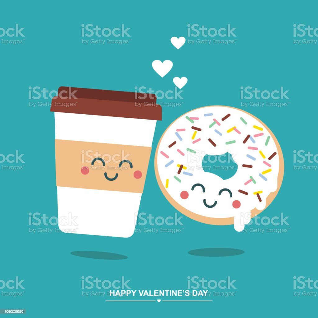 Donut And Coffee In Love Cute Valentines Day Illustration Greetings
