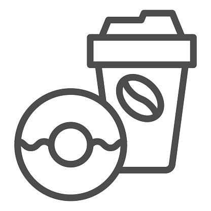 Donut and coffee to go line icon, breakfast concept, Coffee break time with doughnut sign on white background, disposable coffee cup with sweet donut icon in outline style. Vector graphics.