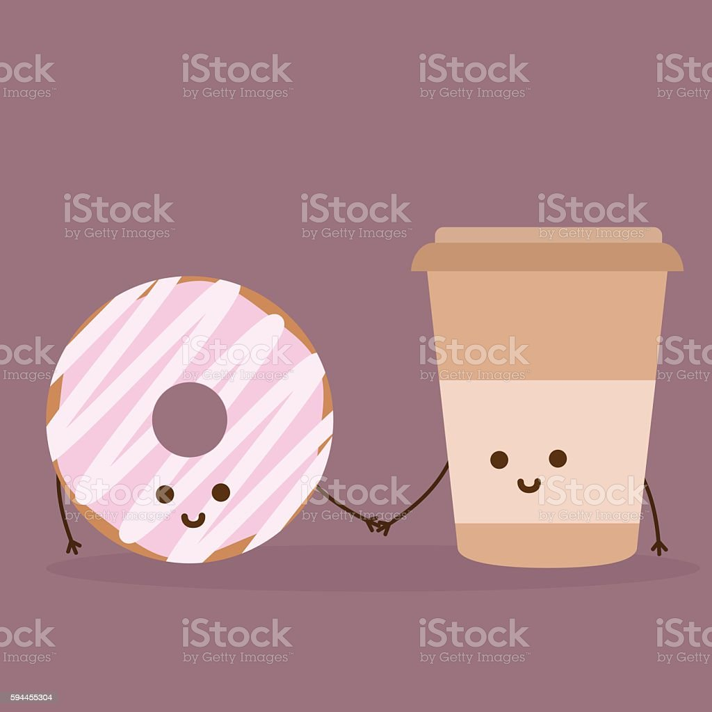 Donut and coffee vector art illustration