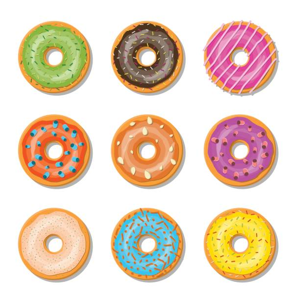 Donut cake set isolated on whitt background. Donut cake set isolated on whitt background. Doughnut into glaze collection. Sweet sugar icing. Vector illustration in flat style decorating a cake stock illustrations