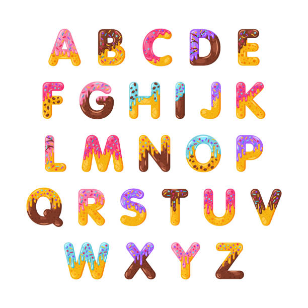 Donut cartoon alphabet vector set Donut cartoon alphabet vector set. Biscuit bold font style. Glazed capital letters with icing. Tempting flat design typography. Cookies, waffle, chocolate letters. Pastry, bakery isolated clipart pack alphabet clipart stock illustrations