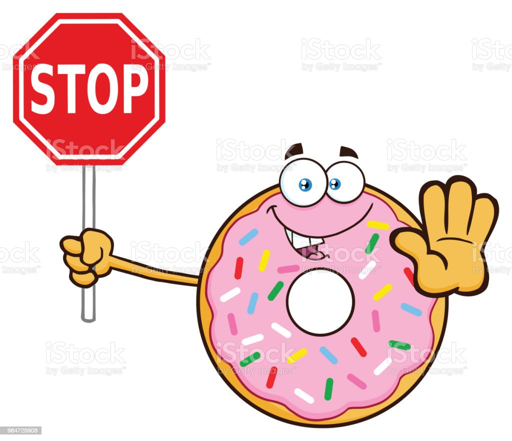 Donut Cartoon Mascot Character With Sprinkles Holding A Stop Sign royalty-free donut cartoon mascot character with sprinkles holding a stop sign stock vector art & more images of breakfast