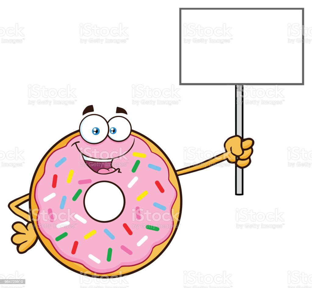 Donut Cartoon Mascot Character With Sprinkles Holding Up A Blank Sign royalty-free donut cartoon mascot character with sprinkles holding up a blank sign stock vector art & more images of blank sign