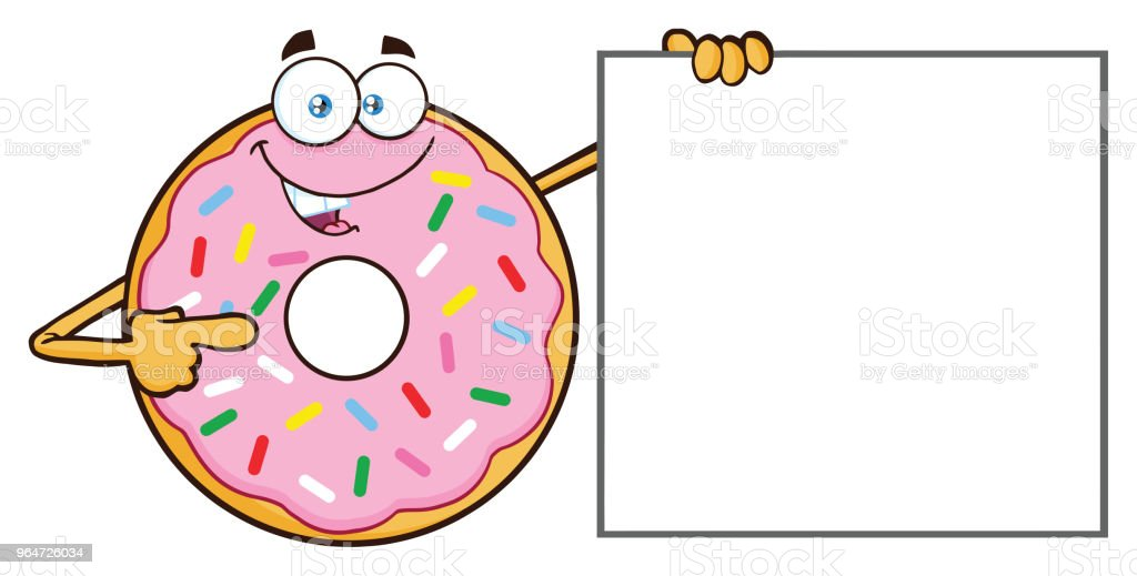 Donut Cartoon Mascot Character With Sprinkles Pointing A Banner royalty-free donut cartoon mascot character with sprinkles pointing a banner stock vector art & more images of breakfast