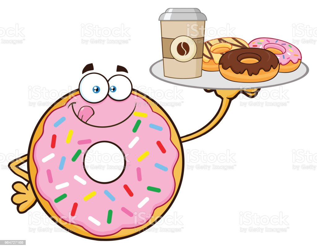 Donut Cartoon Mascot Character With Sprinkles Serving Coffee And Donuts royalty-free donut cartoon mascot character with sprinkles serving coffee and donuts stock vector art & more images of breakfast