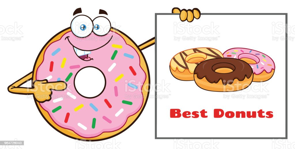 Donut Cartoon Mascot Character With Sprinkles Showing A Banner royalty-free donut cartoon mascot character with sprinkles showing a banner stock vector art & more images of breakfast