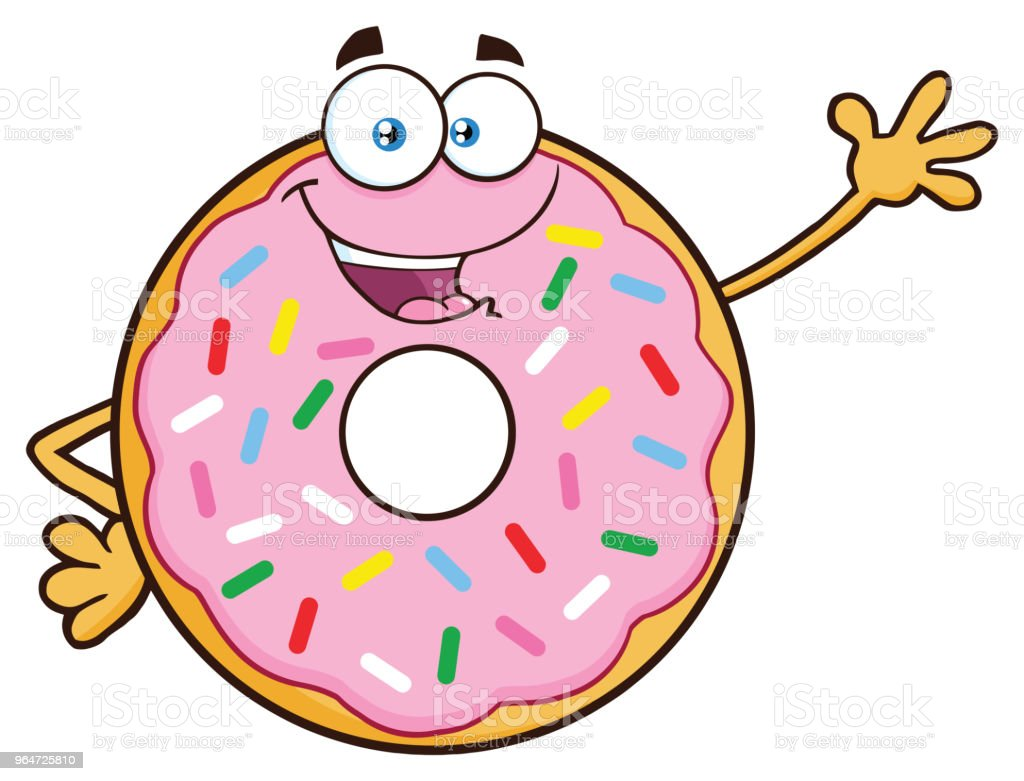 Donut Cartoon Mascot Character With Sprinkles Waving royalty-free donut cartoon mascot character with sprinkles waving stock vector art & more images of breakfast
