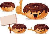 Cartoon donut set including: