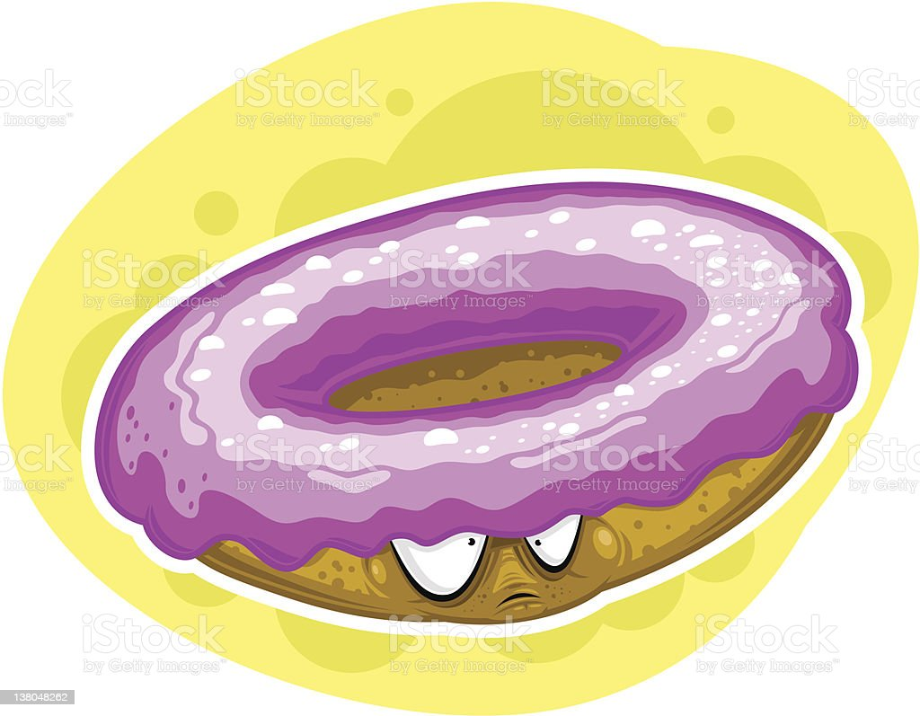 Donut character with pink topping (vector) vector art illustration