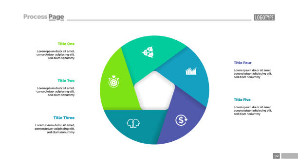 Donut chart with five sections Donut chart with five sections. Infochart, swot analysis, slide template. Reference data concept. Can be used for presentations, layouts, reports five people stock illustrations