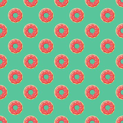Donut Fast Food Seamless Pattern