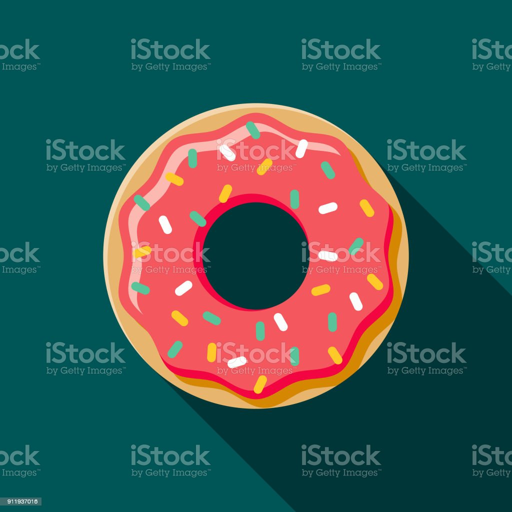 Donut Flat Design Coffee & Tea Icon A flat design styled coffee & tea icon with a long side shadow. Color swatches are global so it's easy to edit and change the colors. Baked stock vector