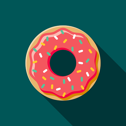 Donut Flat Design Coffee Tea Icon Stock Illustration - Download Image Now
