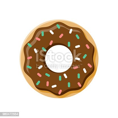 A flat design styled dessert icon with a long side shadow. Color swatches are global so it's easy to edit and change the colors. File is built in the CMYK color space for optimal printing.