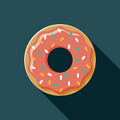 Donut Flat Design USA Icon with Side Shadow