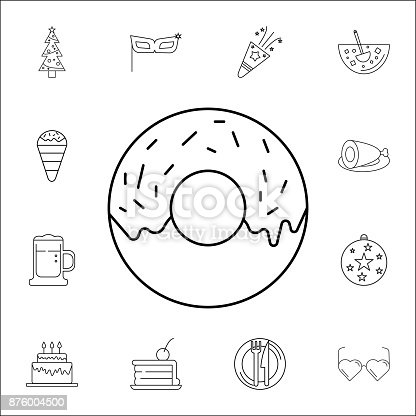 Donut Icon Set Of Party Icons Signs Outline Symbols