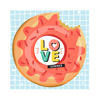 Donut inflatable swimming pool ring with trendy lettering.