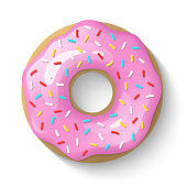 Donut isolated on a white background. Cute, colorful and glossy donuts with pink glaze and multicolored powder. Simple modern design. Realistic vector illustration.