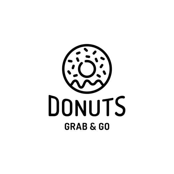 donut logo design template - food delivery stock illustrations