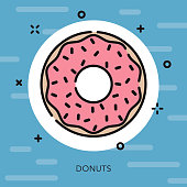 Donut Open Outline USA Icon