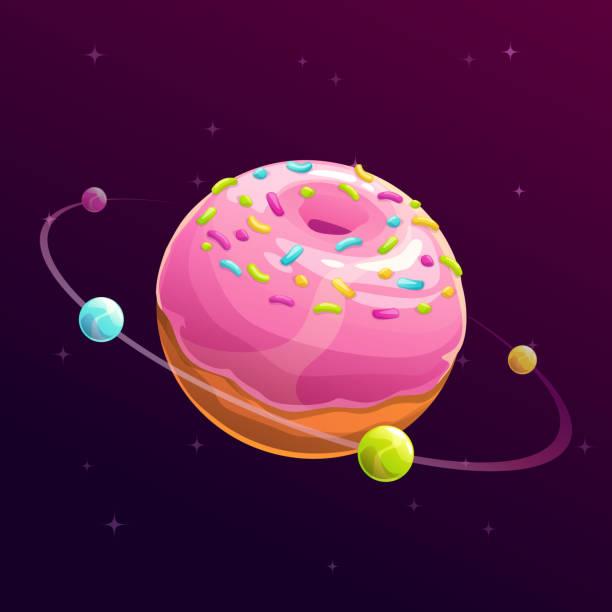 Donut planet. Fantasy space illustration vector art illustration