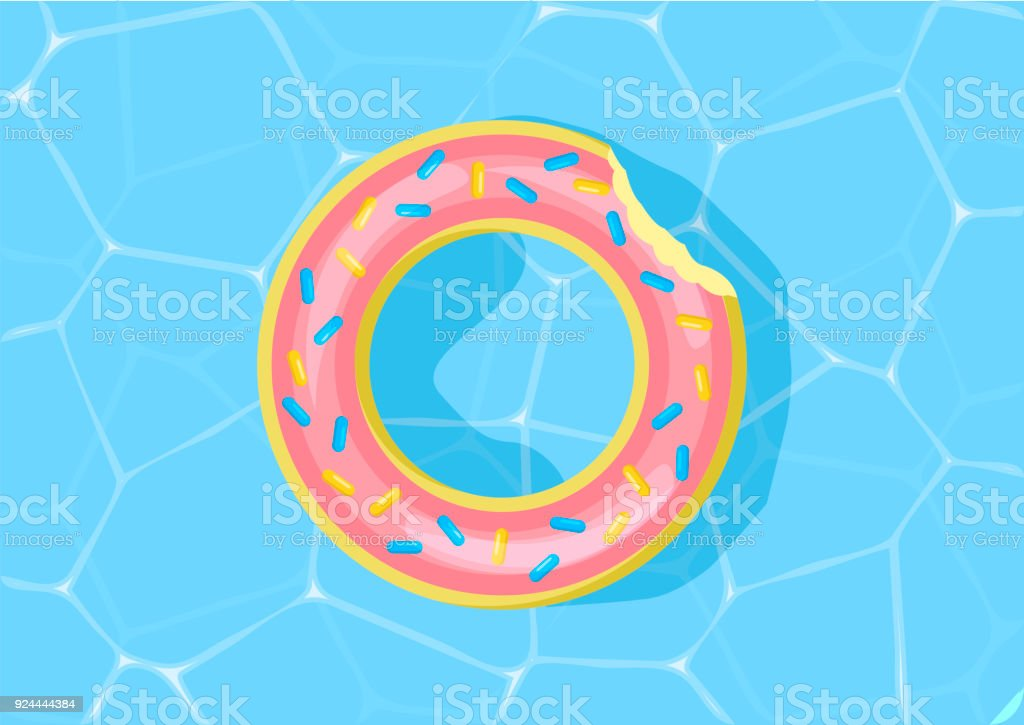 Donut Pool Float Water Texture Vector Illustration Pool Water Stock