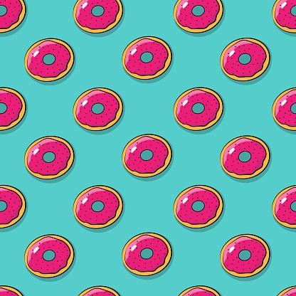 Donut seamless pattern. Pop art Donut on a bright blue background. Vector retro pattern.