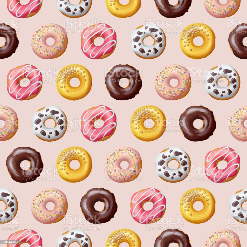 Donut seamless pattern. Vector illustration