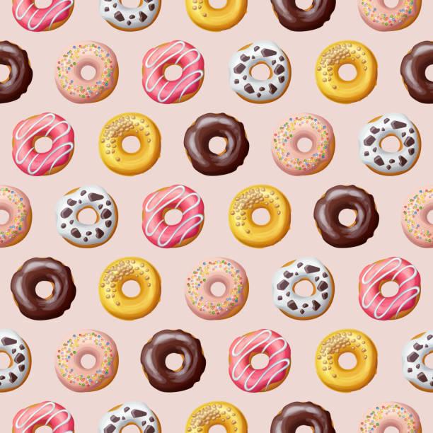 Donut seamless pattern. Vector illustration Donut seamless pattern. Sweet food vector illustration cake designs stock illustrations