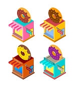 Donut Shop isometric style bright colors vector illustration.